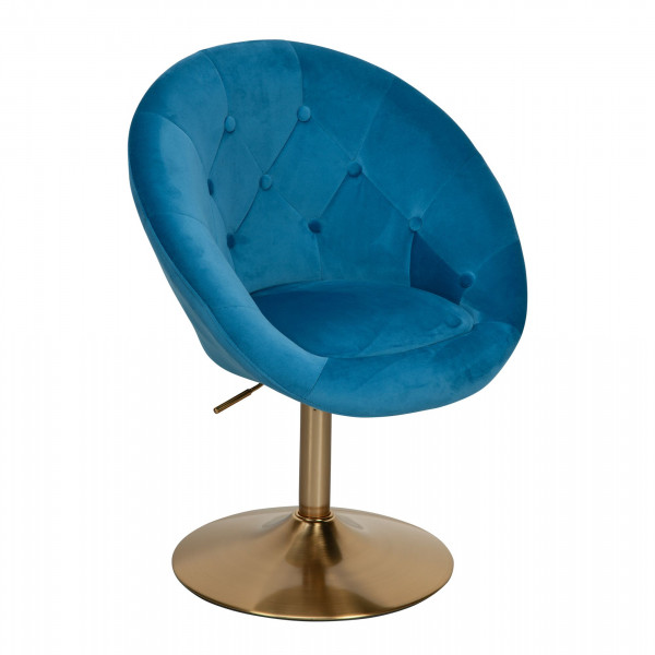 WOHNLING Loungesessel Samt Blau / Gold Design Drehstuhl