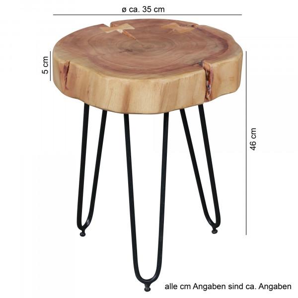 Wohnling Massivholz Akazie Beistelltisch BAGLI 30 x 30 cm