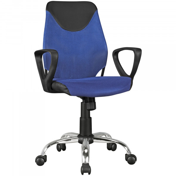 AMSTYLE Kinder-Schreibtischstuhl KiKa Schwarz Blau für Kinder ab 6 mit Lehne | Kinder-Drehstuhl