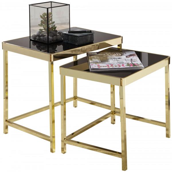 WOHNLING Satztisch VIOLA Schwarz / Gold Beistelltisch Metall/Glas   Couchtisch Set aus 2 Tischen