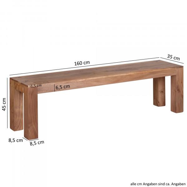 WOHNLING Esszimmer Sitzbank MUMBAI Massiv-Holz Akazie 160 x 45 x 35 cm