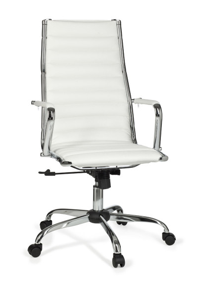 AMSTYLE Bürostuhl GENF 1 Bezug Kunst-Leder Schreibtischstuhl Weiß X-XL 110 kg Chefsessel