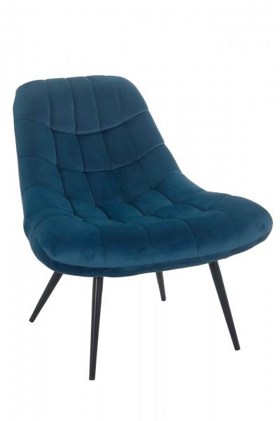 Sessel XXL Samt blau Metall schwarz