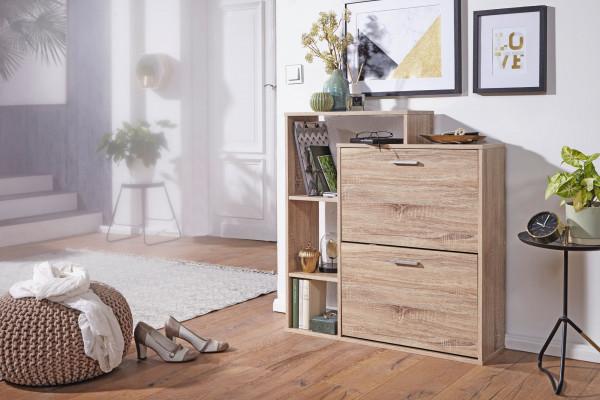 WOHNLING ® Moderner Schuhkipper SAMO Holz 2 Fächer Sonoma Eiche 12 Paar Schuhe