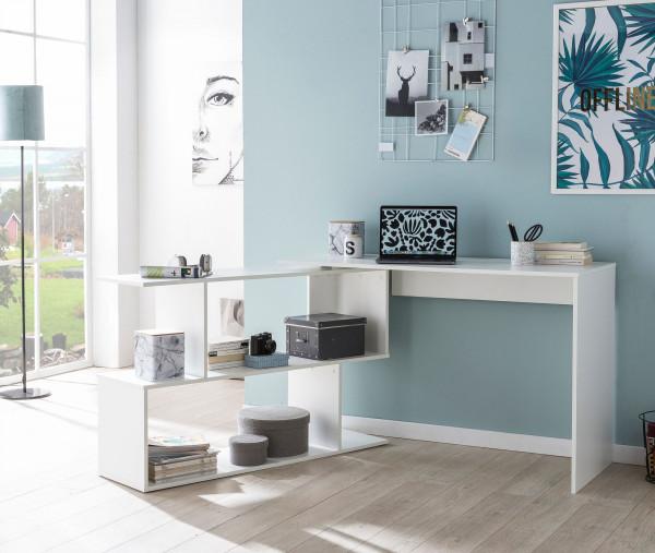 WOHNLING Design Schreibtisch Vary Weiß Matt 119 x 78 x 49 cm mit Ablage Regal | Eckschreibtisch