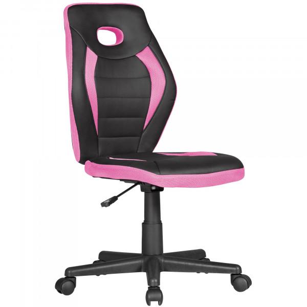 AMSTYLE Kinderdrehstuhl LUAN schwarz/pink für Kinder ab 6 mit Lehne | Kinderdrehstuhl
