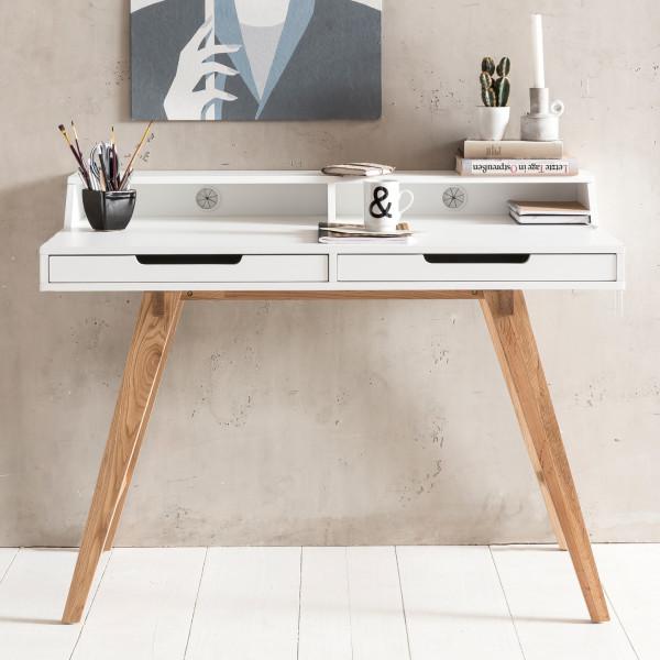 WOHNLING Schreibtisch SKANDI MDF-Holz skandinavisch weiß matt Arbeitstisch