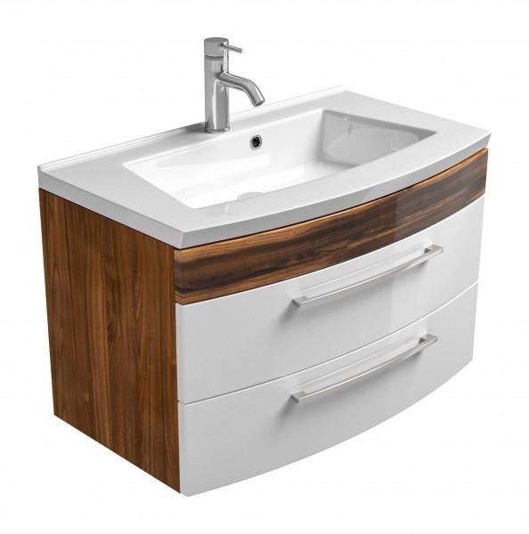 Posseik Waschplatz Rima mit runder Front 100 cm Unterschrank - walnuss weiß