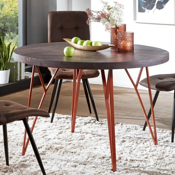 WOHNLING Esszimmertisch KELA 118x79x118 cm Massivholz / Metall Industrial Tisch | Esstisch Rund