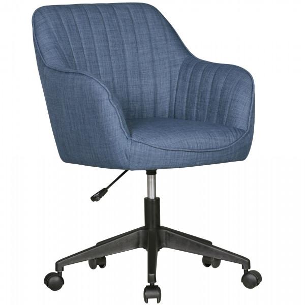 AMSTYLE Schreibtischstuhl MARA Blau Stoff Design Drehstuhl mit Lehne 120 kg | Retro Bürostuhl