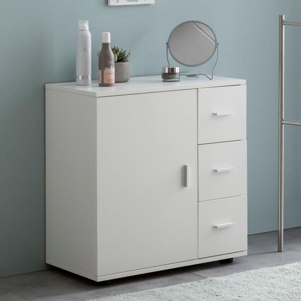 WOHNLING Badschrank Weiß 60x65,5x33 cm Badregal mit Tür & Schubladen
