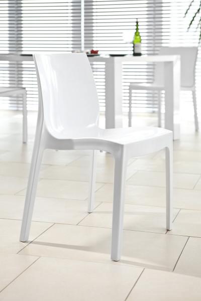 Designer Stuhl weiß aus Kunststoff