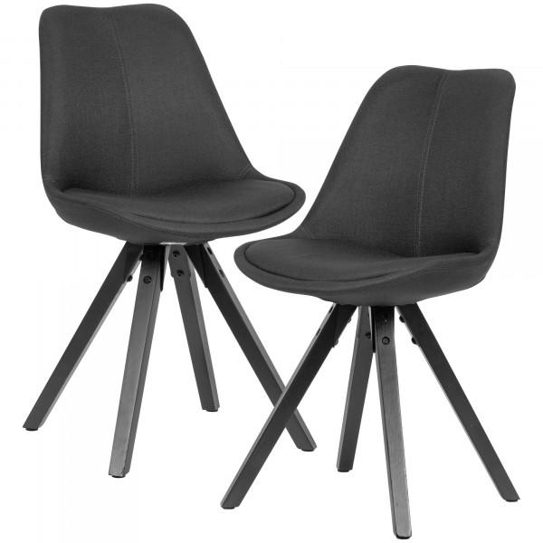 WOHNLING 2er Set Esszimmerstuhl Anthrazit mit schwarzen Beinen Stuhl Skandinavisch