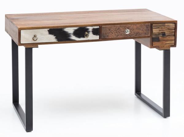 WOHNLING Schreibtisch PATNA Massiv Holz Laptoptisch Mango Natur