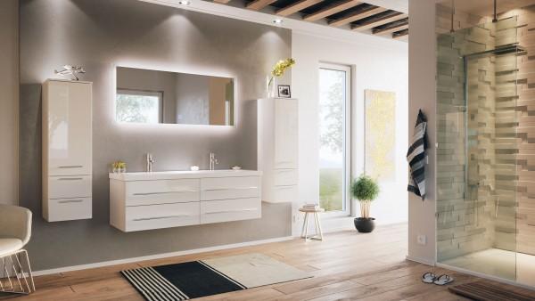 Posseik Badmöbelset Aurelion XL 140 cm 2 Hochschränke inkl. LED Spiegel weiß hochglanz
