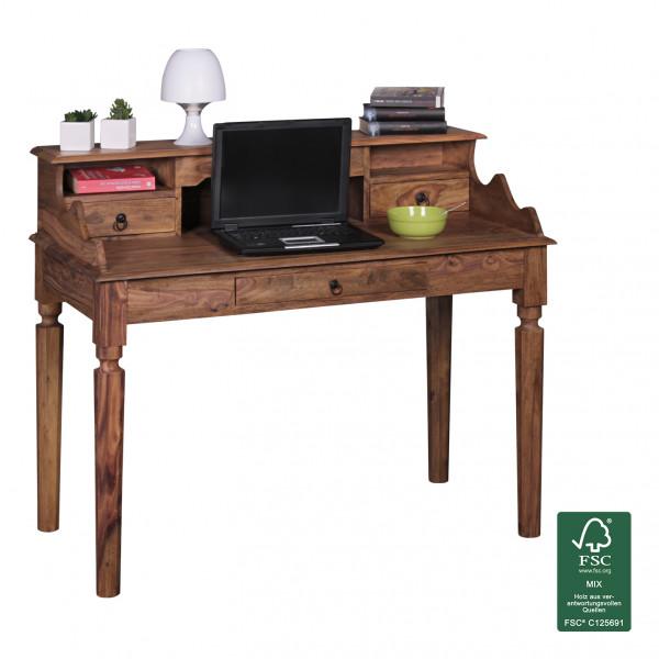 WOHNLING Schreibtisch KADA Massivholz Sheesham   Sekretär 115 x 100 x 60 cm mit 3 Schubladen