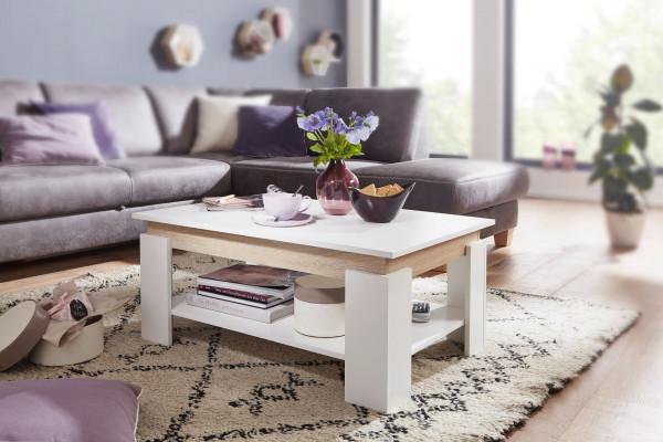 WOHNLING Design Couchtisch 86,5x40x58,5 cm Wohnzimmertisch in Weiß
