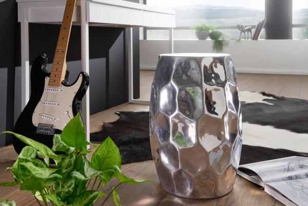 WOHNLING Beistelltisch JADA 30x47x30cm Aluminium Silber Dekotisch orientalisch rund