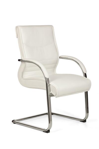 AMSTYLE Freischwinger MILANO Besucherstuhl Bezug Kunst-Leder Weiß | Design Schwingstuhl