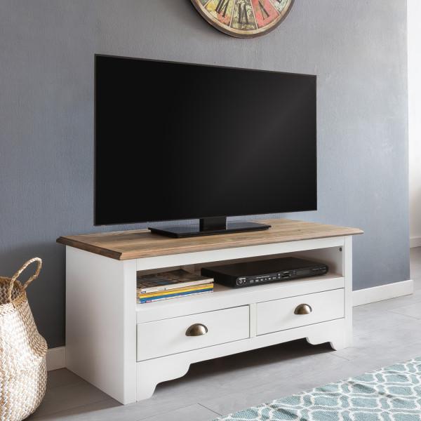 WOHNLING Design HiFi Lowboard MAYLA Kiefer Massivholz Kommode 100 cm Weiß