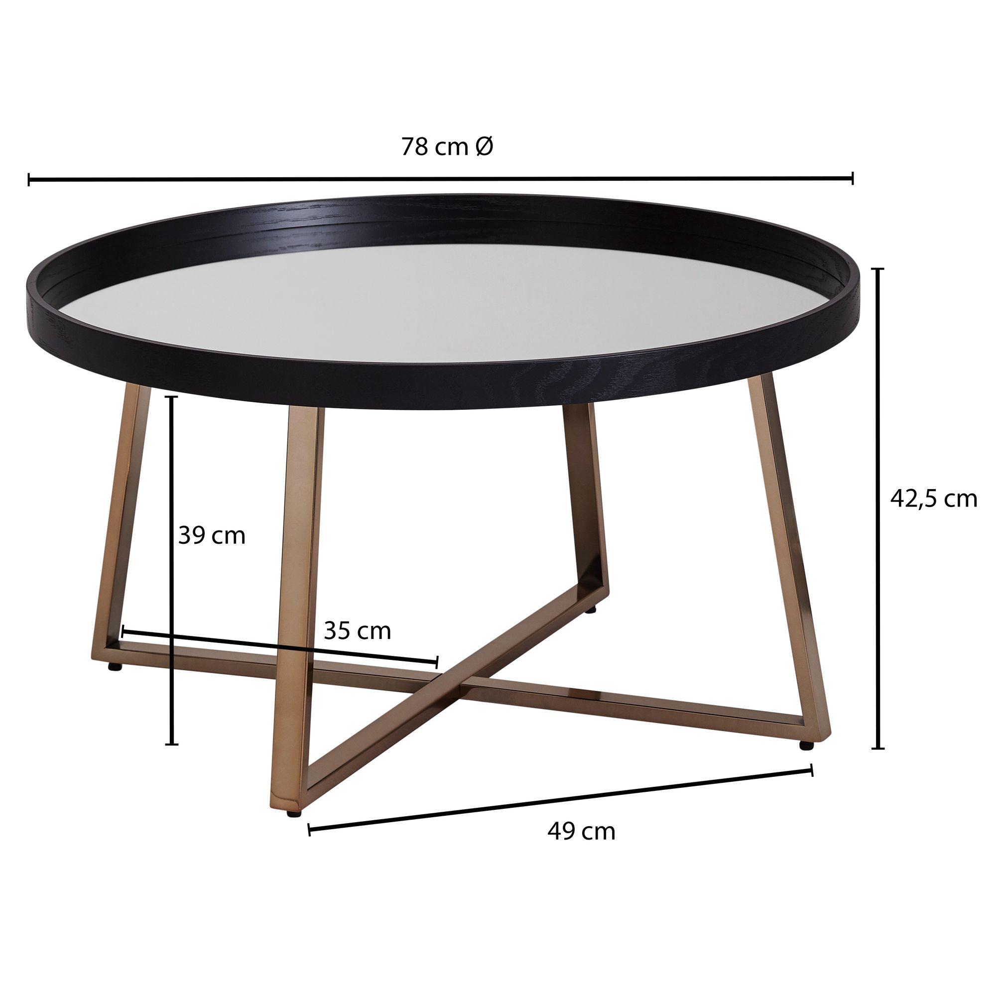 Wohnling Design Couchtisch Rund O 78 Cm Dunkel Gold Mit Spiegel Glasplatte Wohnzimmertisch Schwarz