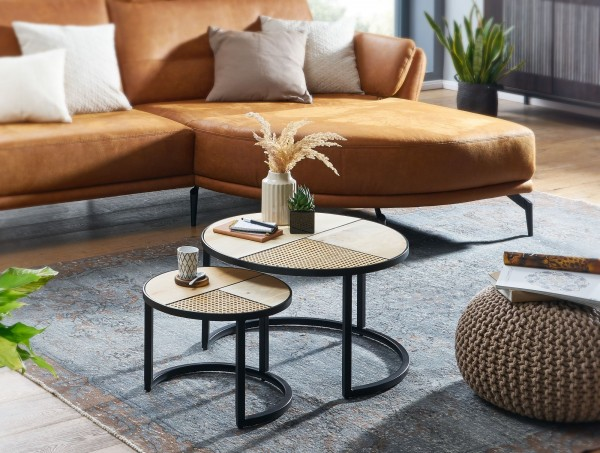 Wohnling Design Couchtisch 2er Set Mango Rattan Beistelltisch Rund Satztisch Wohnzimmer