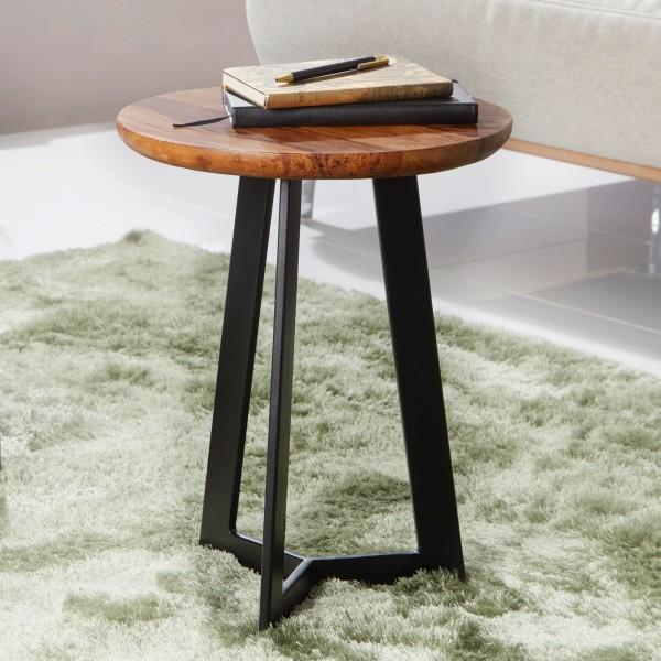 WOHNLING Beistelltisch 35 x 45 x 35 cm Sheesham Holz Metall Couchtisch | Industrial Style