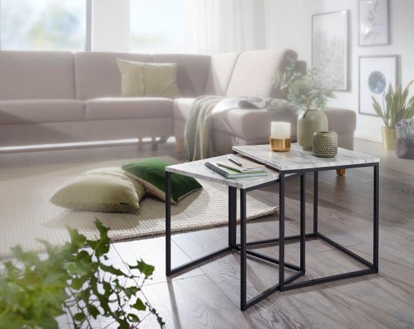 WOHNLING Design Beistelltisch 2er Set Marmor Optik Weiß | Couchtisch 2 teilig Tischgestell Schwarz
