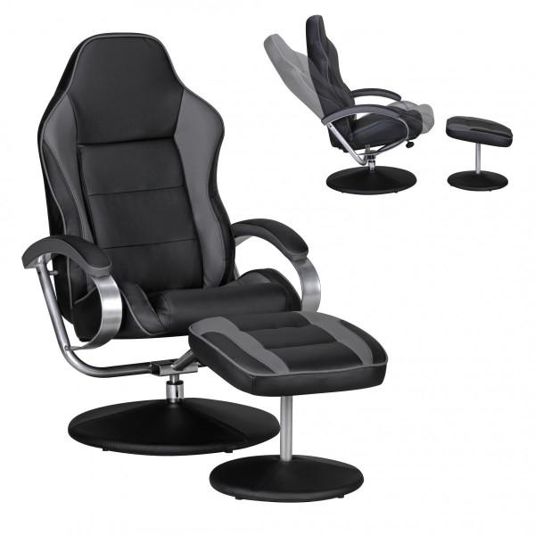 AMSTYLE Fernsehsessel SPORTING TV Design Relax-Sessel Racing Bezug Kunstleder schwarz / grau drehbar