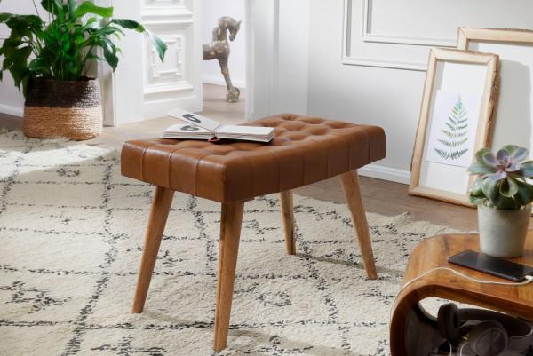 WOHNLING Sitzhocker 67x47x39 cm Mango Massivholz / Echtleder Chesterfield-Design