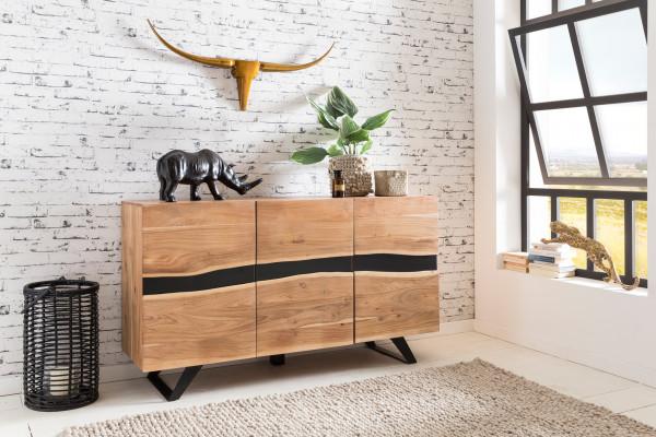 WOHNLING Sideboard SATARA Massiv-Holz Akazie Natur Baumkante Anrichte