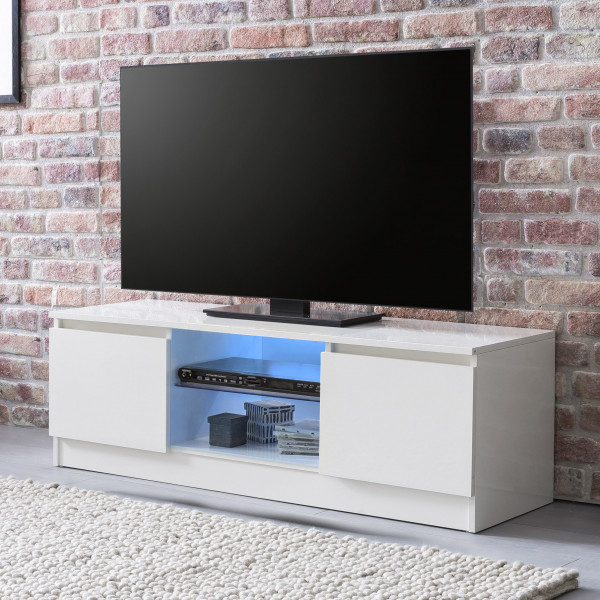 WOHNLING Lowboard mit LED Weiß Hochglanz 120 cm HiFi Regal | Design Fernsehschrank Kommode