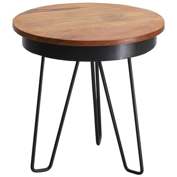 WOHNLING Beistelltisch 43 x 45 x 43 cm Sheesham Holz Metall Couchtisch | Industrial Style