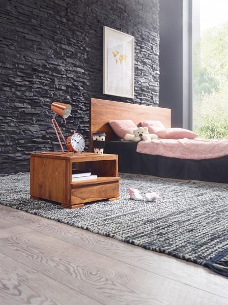 WOHNLING Nachttisch MUMBAI Massiv-Holz Sheesham Nacht-Kommode 30 cm