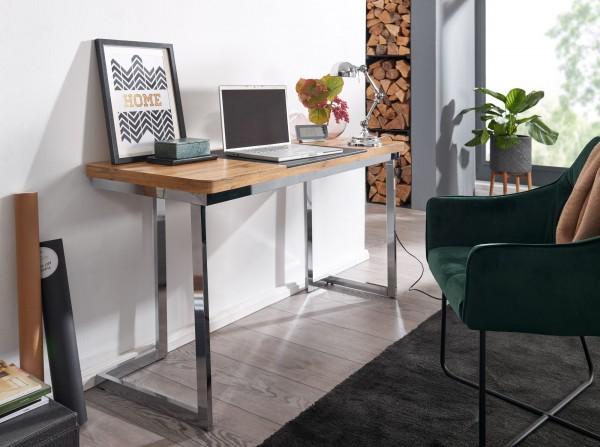 WOHNLING Schreibtisch 140x76x55 cm Holz Metall Bürotisch Chrome Home-Office Tisch