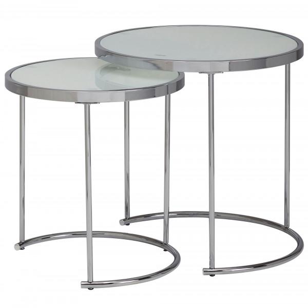 WOHNLING Design Beistelltisch Rund Ø 50/42 cm - 2 teilig Weiß Silber mit Glasplatte | Wohnzimmertisc