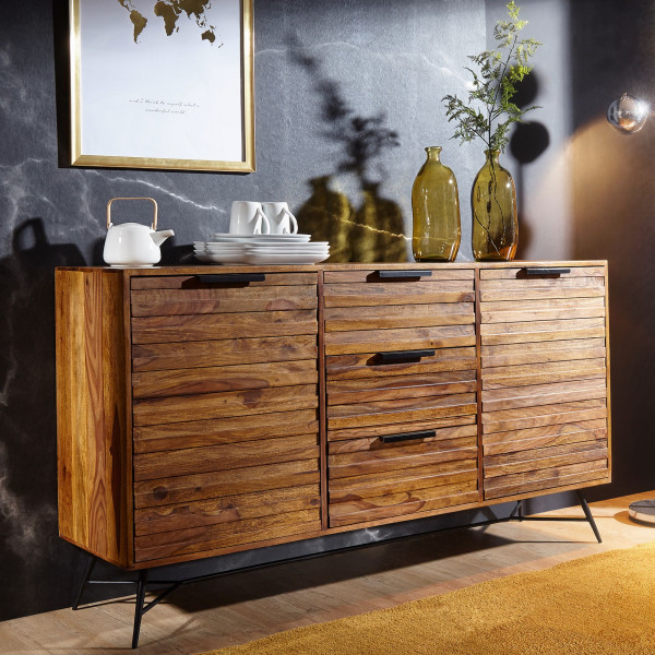 WOHNLING Design Sideboard NISHAN 160 x 40 x 88 cm Sheesham Massiv Holz | Kommode mit Türen
