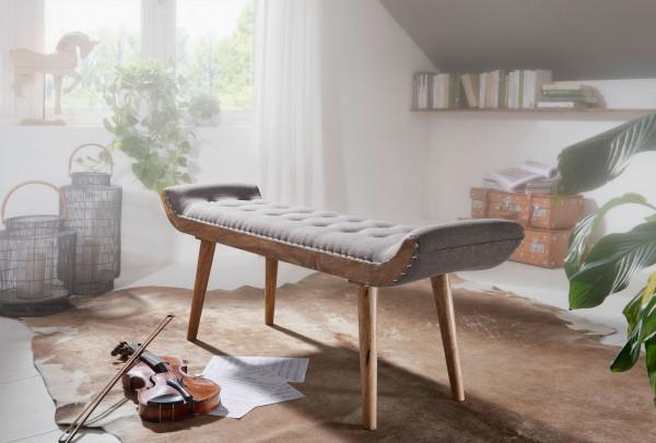 WOHNLING Sitzbank Stoff / Massivholz Bank Grau 125x51x38 cm Chesterfield-Design