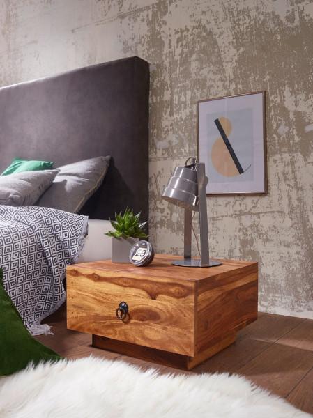 WOHNLING Design Nachttisch MUMBAI Massiv-Holz Sheesham 40x40x25 cm