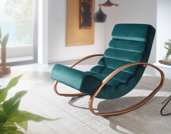 WOHNLING Relaxliege Samt Grün / Gold 110 kg Belastbar Relaxsessel