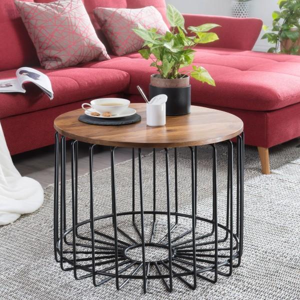 WOHNLING Couchtisch Sheesham 60 x 42 x 60 cm Holz Metall Beistelltisch | Industrial Style