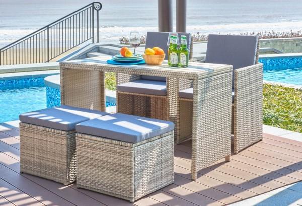 MÖBILIA Gartenmöbel-Set CARIDA 9-tlg. 2 Stühle, 2 Hocker, 4 Sitzkissen+2 Rückenkissen grau, 1 Tisch