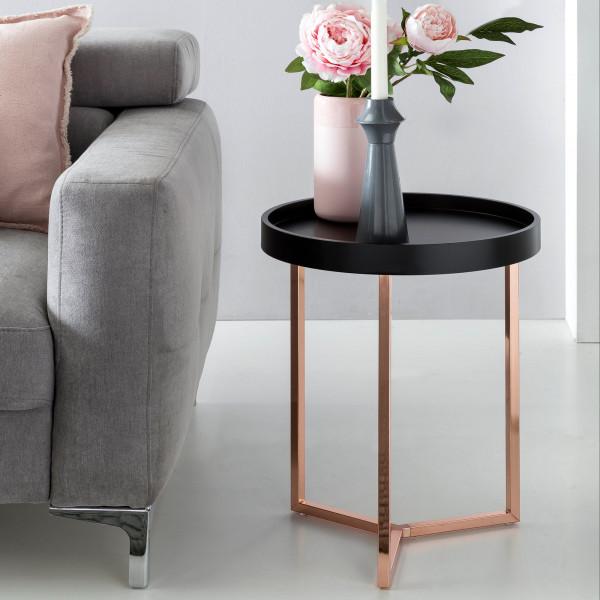 WOHNLING Design Beistelltisch Schwarz / Kupfer 40 cm Tabletttisch Metall