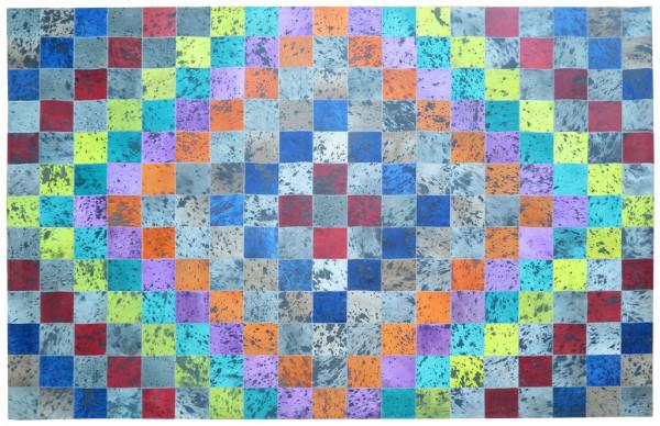 Teppich Bunt kariert Kuhfell 200x300 cm