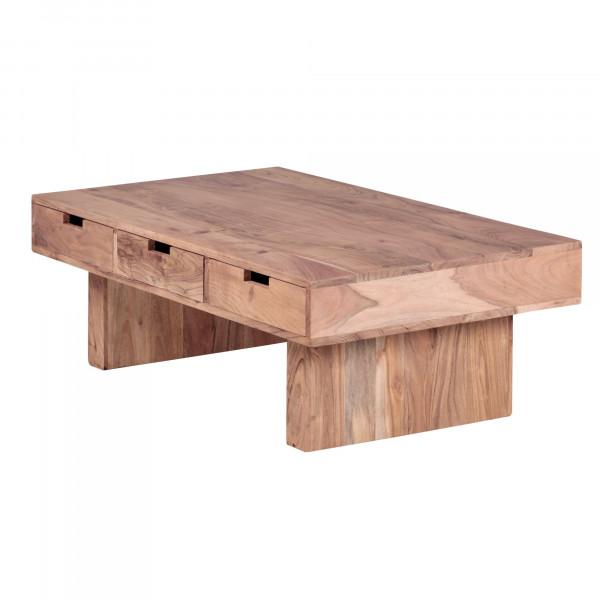 WOHNLING Couchtisch MUMBAI Massivholz Akazie Design Wohnzimmer-Tisch 110 x 60 cm mit 6 Schubladen
