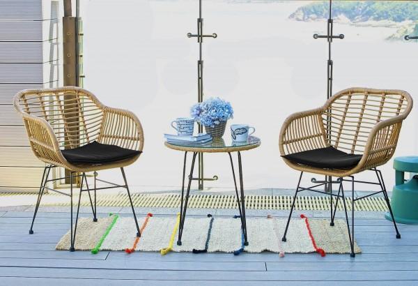 MÖBILIA Gartenmöbel-Set SAMARA 5-tlg. Gartengarnitur 2 Stühle, 2 Sitzkissen schwarz, 1 Beistelltisch