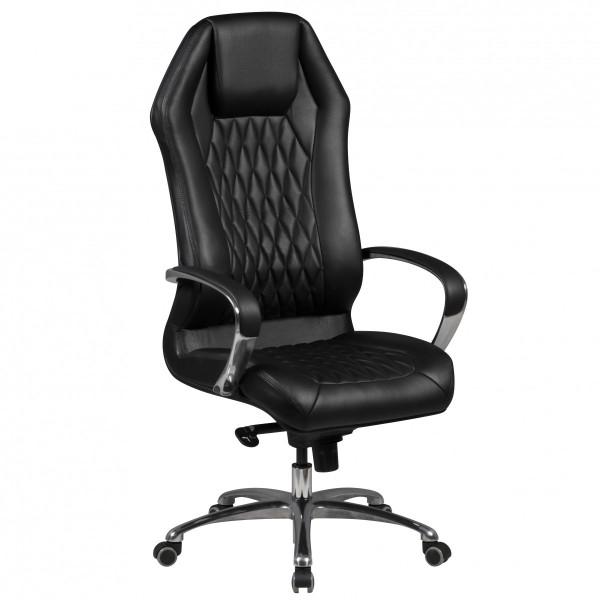 AMSTYLE Bürostuhl MONTEREY Echt-Leder Schwarz Schreibtischstuhl 120KG Chefsessel hohe Rückenlehne