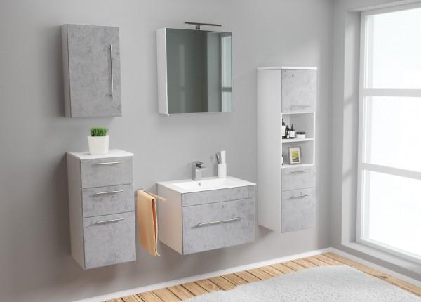 Posseik Badmöbel-Set Viva 60 cm Waschtisch mit Seitenschrank und Spiegelschrank Stone Optik