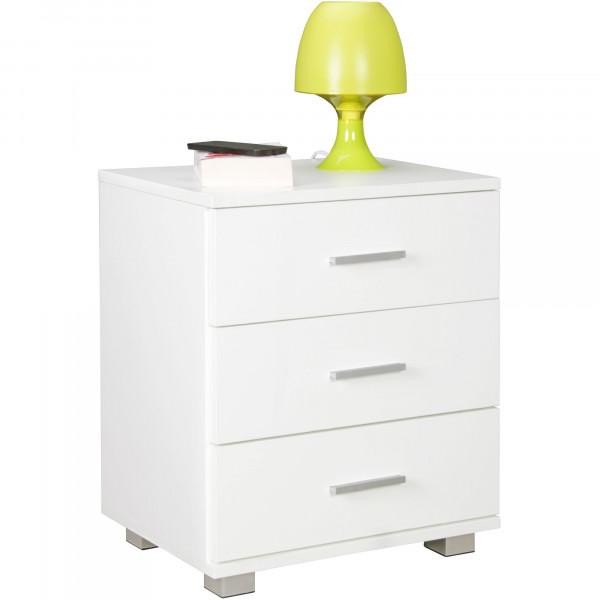 WOHNLING Nachtkonsole NINA Nachttisch modern mit 3 Schubladen weiß