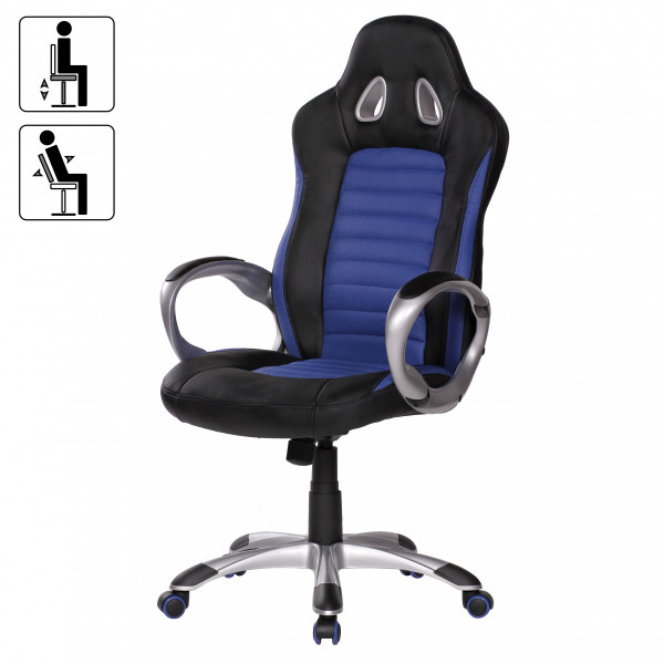 Amstyle Bürostuhl RACER Blau Gaming Chefsessel mit Armlehne gepolstert 110 kg Sport-Sitz Drehstuhl